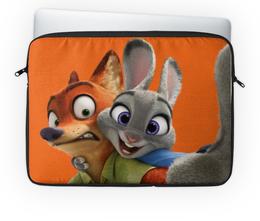 "Чехол для ноутбука 14'' ""Зверополис"" - мультфильм, заяц, звери, лис, персонажи"