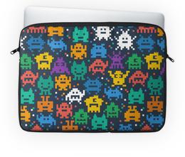 """Чехол для ноутбука 14'' """"Монстры пиксели"""" - minecraft, pacman, монстры, pixel art, пиксели"""