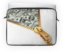 """Чехол для ноутбука 14'' """"Деньги"""" - деньги, молния, замок, доллары, купюры"""