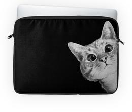 """Чехол для ноутбука 14'' """"Выглядывающий кот"""" - кот, приколы"""