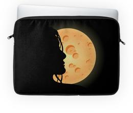 """Чехол для ноутбука 14'' """"Look at the moon"""" - девушка, ночь, луна, moon, для влюбленных"""