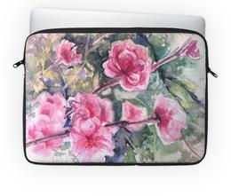"""Чехол для ноутбука 14"""" """"Розовые цветы"""" - природа, цветы, розовый, ветки, акварель"""