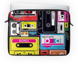 """Чехол для ноутбука 14"""" """"Музыкальное ретро"""" - музыка, стиль, ретро, кассета, рисунок"""
