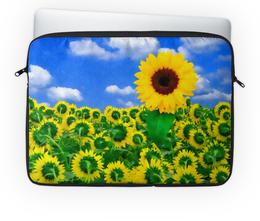 """Чехол для ноутбука 14'' """"Подсолнух"""" - цветок, солнце, небо, облака, подсолнух"""