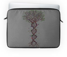 """Чехол для ноутбука 14"""" """"DNA Tree / Древо ДНК"""" - природа, арт, иллюстрация, дерево, цветы"""