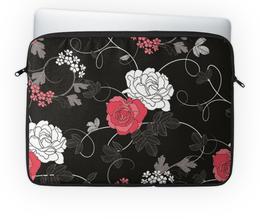 """Чехол для ноутбука 14'' """"Красная и белая розы"""" - цветы, белое, красное, розы"""