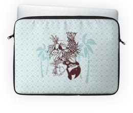 """Чехол для ноутбука 14'' """"Тропики"""" - пальма, голубой, попугай, ананас, тропики"""
