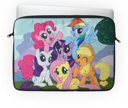 "Чехол для ноутбука 14"" ""My Little Pony"" - rainbow dash, my little pony, applejack, friendship is magic, twilight sparkle"