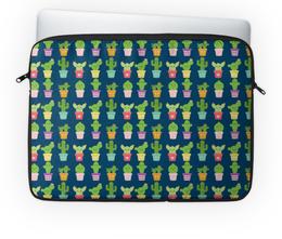 "Чехол для ноутбука 14'' ""Кактусы"" - цветы, кактус"