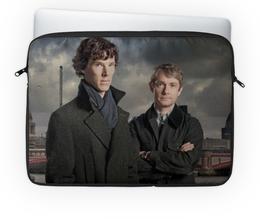 "Чехол для ноутбука 14'' ""Шерлок и Джон"" - доктор, лондон, шерлок, холмс, ватсон"