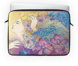 """Чехол для ноутбука 14'' """"В мире грез"""" - девушка, цветы, узоры, иллюстрация, фантазия"""