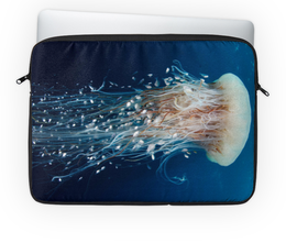 """Чехол для ноутбука 14'' """"Под водой"""" - море, подводный мир, синий, медуза"""