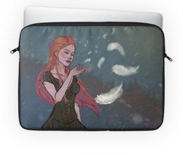"""Чехол для ноутбука 14'' """"Перышко"""" - девушка, снег, рыжая, ветер, перышко"""