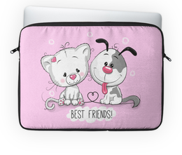 """Чехол для ноутбука 14'' """"Друзья"""" - мультяшки, друзья, рисунок, щенок, котёнок"""