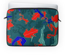 """Чехол для ноутбука 14'' """"Древесные лягушки"""" - зеленый, лягушки, ящерицы"""