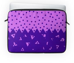 """Чехол для ноутбука 14'' """"Падающие треугольники"""" - сиреневый, фиолетовый, треугольник, горох, половина"""