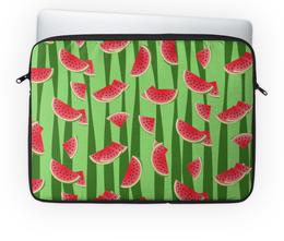 """Чехол для ноутбука 14'' """"Арбуз"""" - полоска, ягода, зеленый, семена, дольки"""