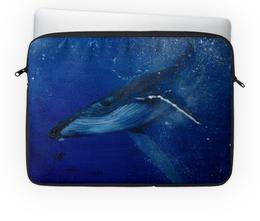 """Чехол для ноутбука 14"""" """"Горбатый кит"""" - арт, кит, океан, животные"""