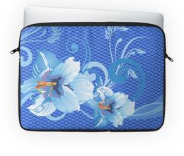 "Чехол для ноутбука 14'' ""Лилии"" - цветы, лилия, синий, голубой, ромб"