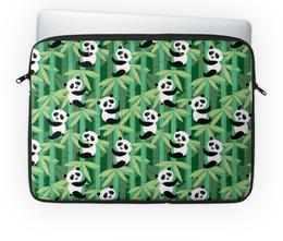 """Чехол для ноутбука 14'' """"Жизнь панд"""" - узор, животные, панда, лес, бамбук"""