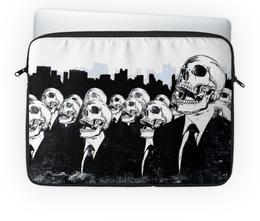 """Чехол для ноутбука 14'' """"Мир скелетов"""" - череп, арт, юмор, скелет, общество"""