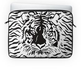 "Чехол для ноутбука 14"" ""Взгляд Тигра"" - рисунок, взгляд, графика, тигр, чёрное и белое"