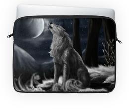 """Чехол для ноутбука 14'' """"Волк и луна"""" - арт, графика, луна, волк"""