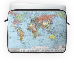 """Чехол для ноутбука 14"""" """"Карта мира"""" - мир, страны, карта, политика, география"""
