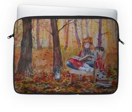 """Чехол для ноутбука 14'' """"Истории осени"""" - осень, котики, уют, листопад, прикольный подарок"""