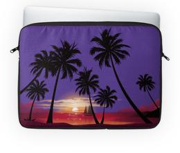 """Чехол для ноутбука 14'' """"Острова в океане"""" - море, закат, яхта, острова, пальмы"""