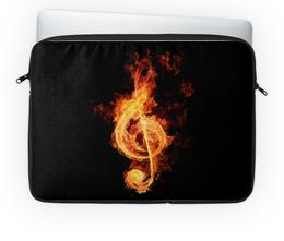 """Чехол для ноутбука 14'' """"Скрипичный ключ"""" - музыка, нота, пламя, стьюи, ключ"""