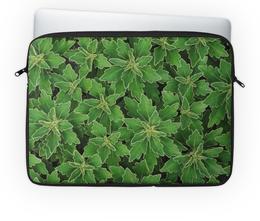 """Чехол для ноутбука 14'' """"Зеленые листья"""" - белый, лист, зеленый, куст, окантовка"""
