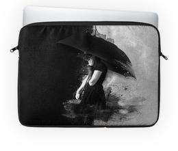 """Чехол для ноутбука 14'' """"Под зонтом"""" - девушка, черно-белое, дождь, под зонтом"""