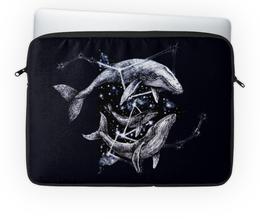 """Чехол для ноутбука 14'' """"Межгалактические киты"""" - море, космос, графика, кит, киты"""