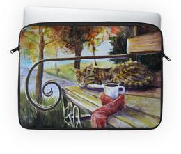 """Чехол для ноутбука 14'' """"Осеннее тепло"""" - осень, тепло, котики, уют, листопад"""