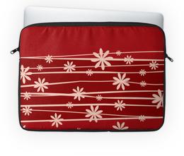 """Чехол для ноутбука 14'' """"Красная поляна"""" - цветы, узор, стиль, рисунок, цветочный"""