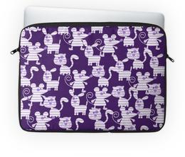 """Чехол для ноутбука 14'' """"Коты, мыши и собаки"""" - кот, мышь, полоска, фиолетовый, собака"""