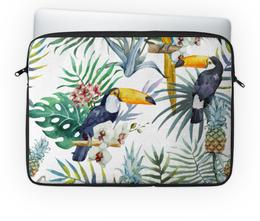 """Чехол для ноутбука 14'' """"Пеликан и ананасы"""" - красиво, птицы, природа, ананас, пеликан"""