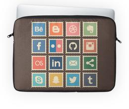 """Чехол для ноутбука 14'' """"Социальные сети"""" - твитер, эмблема, фэйсбук, социальные сети, инстаграм"""
