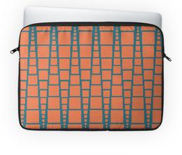 """Чехол для ноутбука 14'' """"Квадраты"""" - треугольник, рыжий, синий, квадрат, размер"""