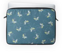 """Чехол для ноутбука 14'' """"Бабочки"""" - бабочки, силуэт, голубой, синий, природа"""