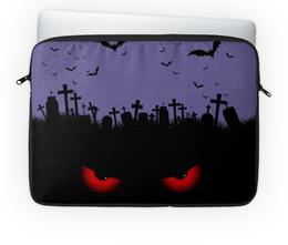 """Чехол для ноутбука 14'' """"Взгляд оттуда"""" - хэллоуин, рисунок, взгляд, летучие мыши, кладбище"""
