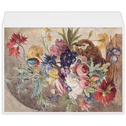 """Конверт большой С4 """"Цветочный натюрморт (Ян ван Хёйсум)"""" - цветы, картина, живопись, натюрморт, ян ван хёйсум"""