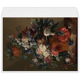 """Конверт большой С4 """"Ваза с цветами (Ян ван Хёйсум)"""" - цветы, картина, живопись, натюрморт, ян ван хёйсум"""