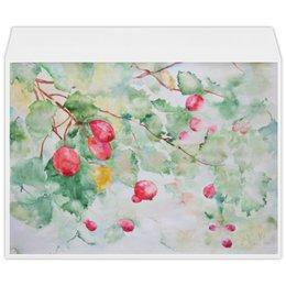 """Конверт большой С4 """"Боярышник и Осень"""" - красный, ягоды, розовый, оригинальный, акварель"""