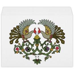 """Конверт большой С4 """"Виньетка с птицами"""" - птицы, графика, виньетка, билибин"""