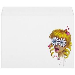 """Конверт большой С4 """"Без ума от цветов"""" - любовь, девушка, цветы, сердца, блондинка"""