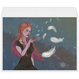 """Конверт большой С4 """"Перышко"""" - девушка, снег, рыжая, ветер, перышко"""