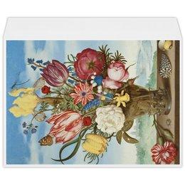 """Конверт большой С4 """"Букет цветов на полке (Амброзиус Босхарт)"""" - цветы, картина, живопись, натюрморт, босхарт"""