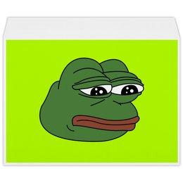 """Конверт большой С4 """"Грустная лягушка"""" - мем, meme, грустная лягушка, sad frog, pepe frog"""